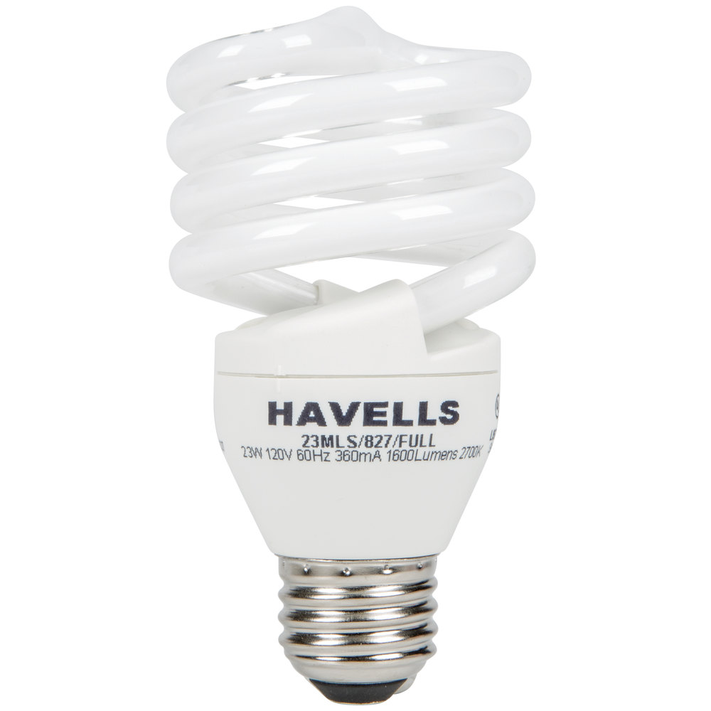 Havells 5031205 23 Watt 100 Watt Equivalent Full Spiral Compact Fluorescent Light Bulb 120v