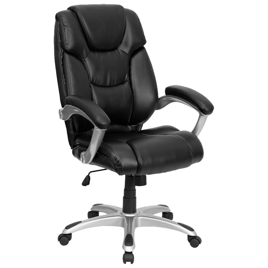 black leather executive office chair with padded arms and chrome base