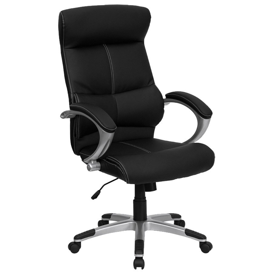 High back black leather contemporary executive office for High back leather chairs