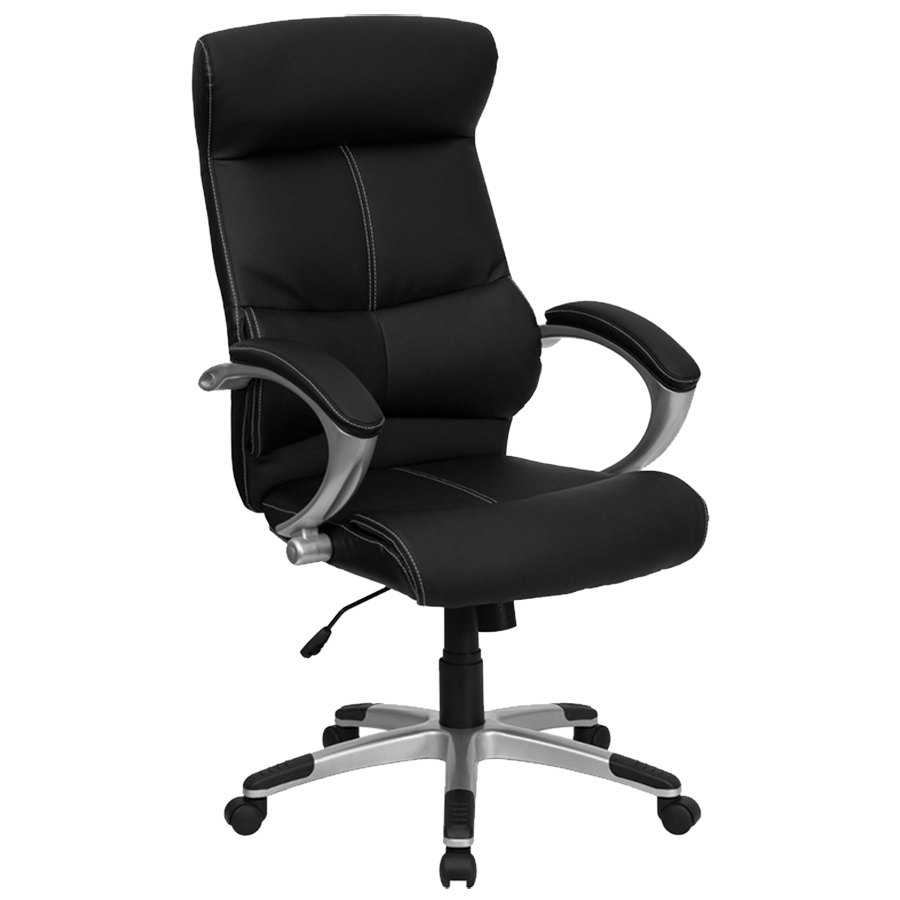 high back black leather contemporary executive office chair with built in lumbar support and. Black Bedroom Furniture Sets. Home Design Ideas