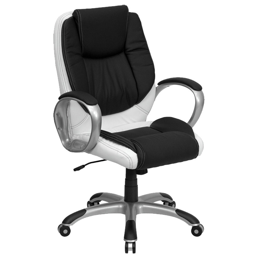 ch cx0217m gg mid back black and white leather executive office chair
