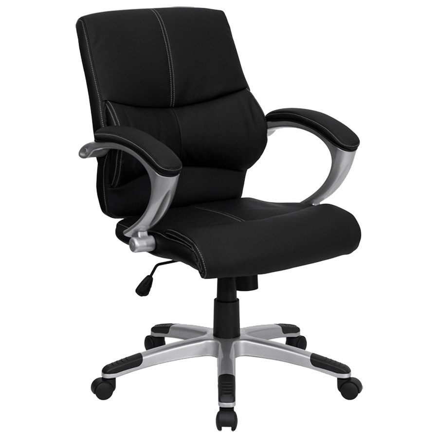Mid-Back Black Leather Contemporary Manager's Office Chair ...