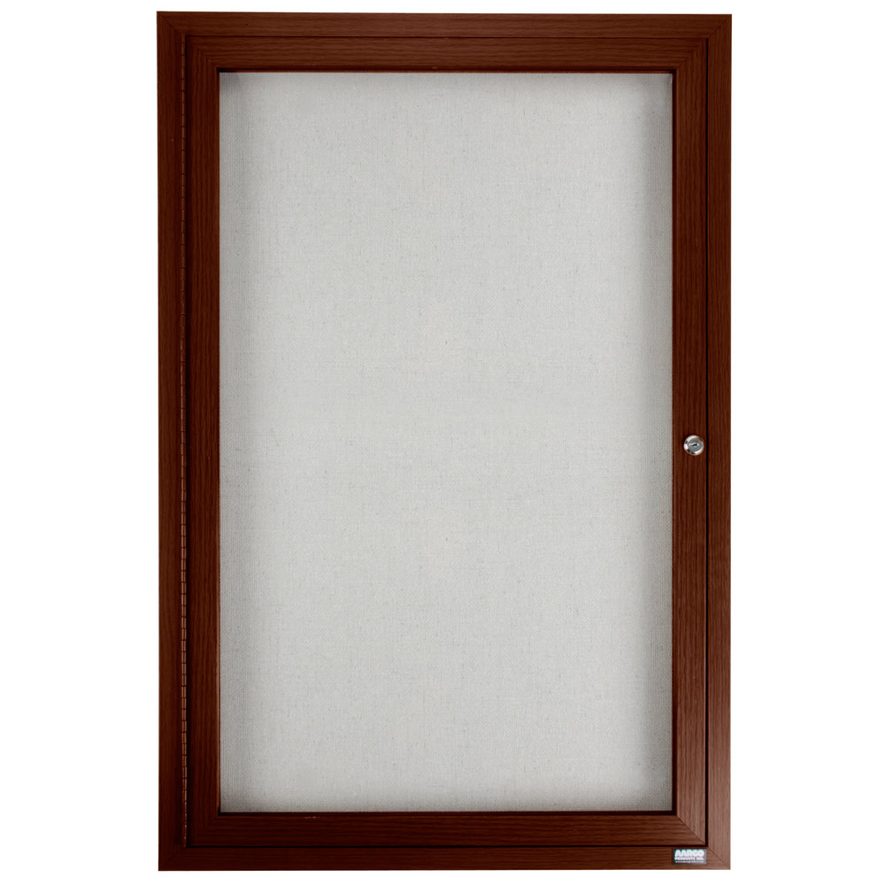 "Aarco 36"" x 24"" Walnut Finish Lighted Bulletin Board Cabinet"