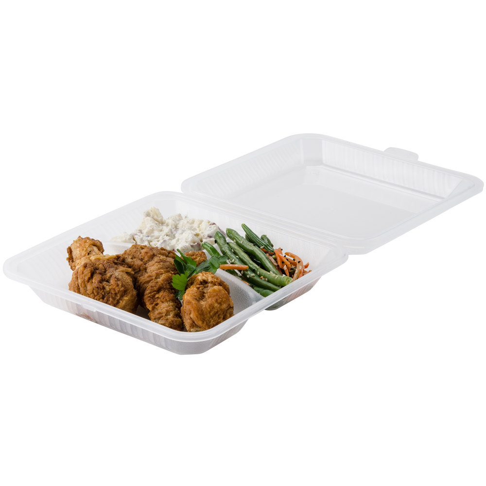 "GET EC-12 9"" x 9"" x 2 3/4"" Clear 3-Compartment Reusable Eco-Takeouts Container - 12/Case"