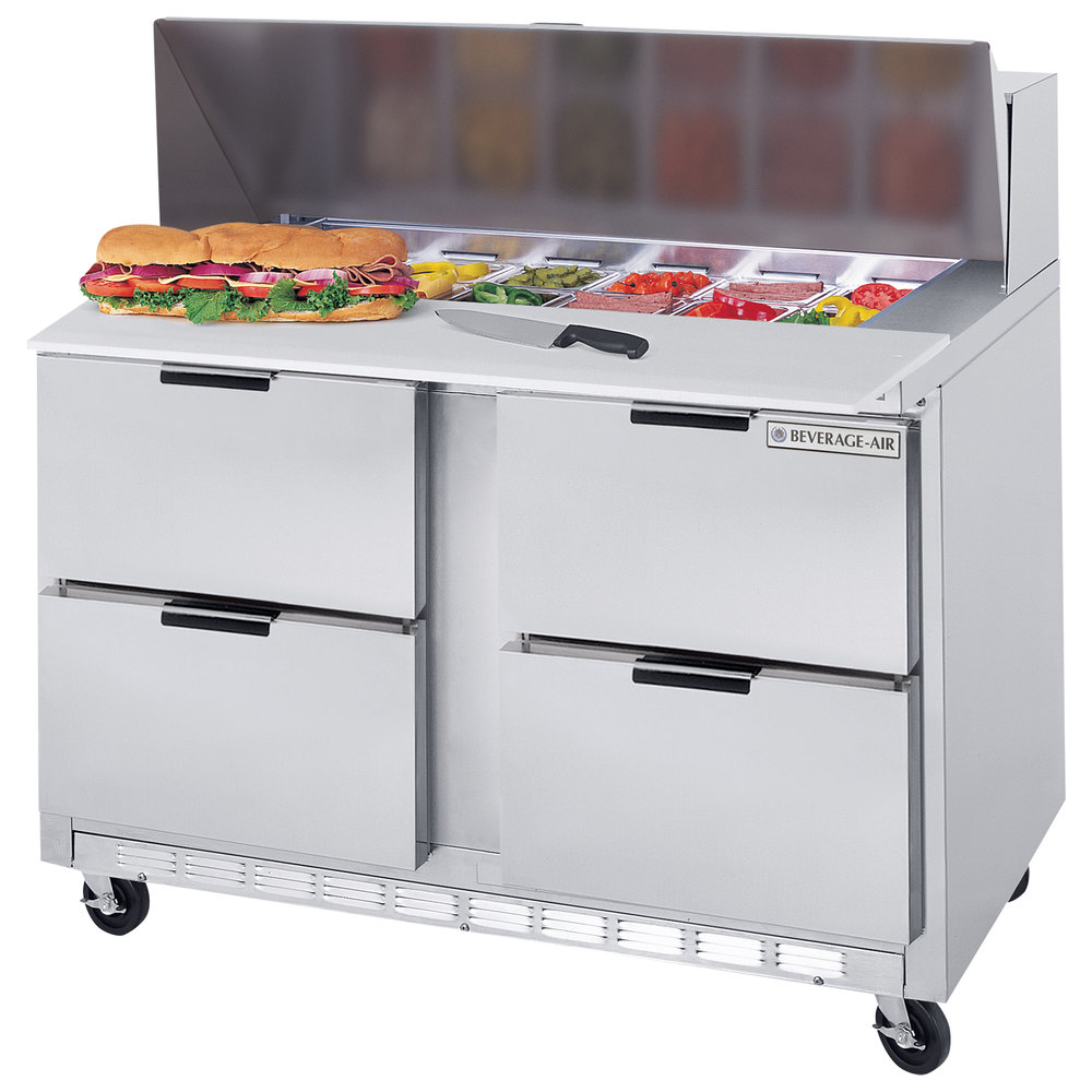 "Beverage Air SPED48-08C-4 48"" Refrigerated Salad / Sandwich Prep Table with 4 Drawers and 17"" Wide Cutting Board"