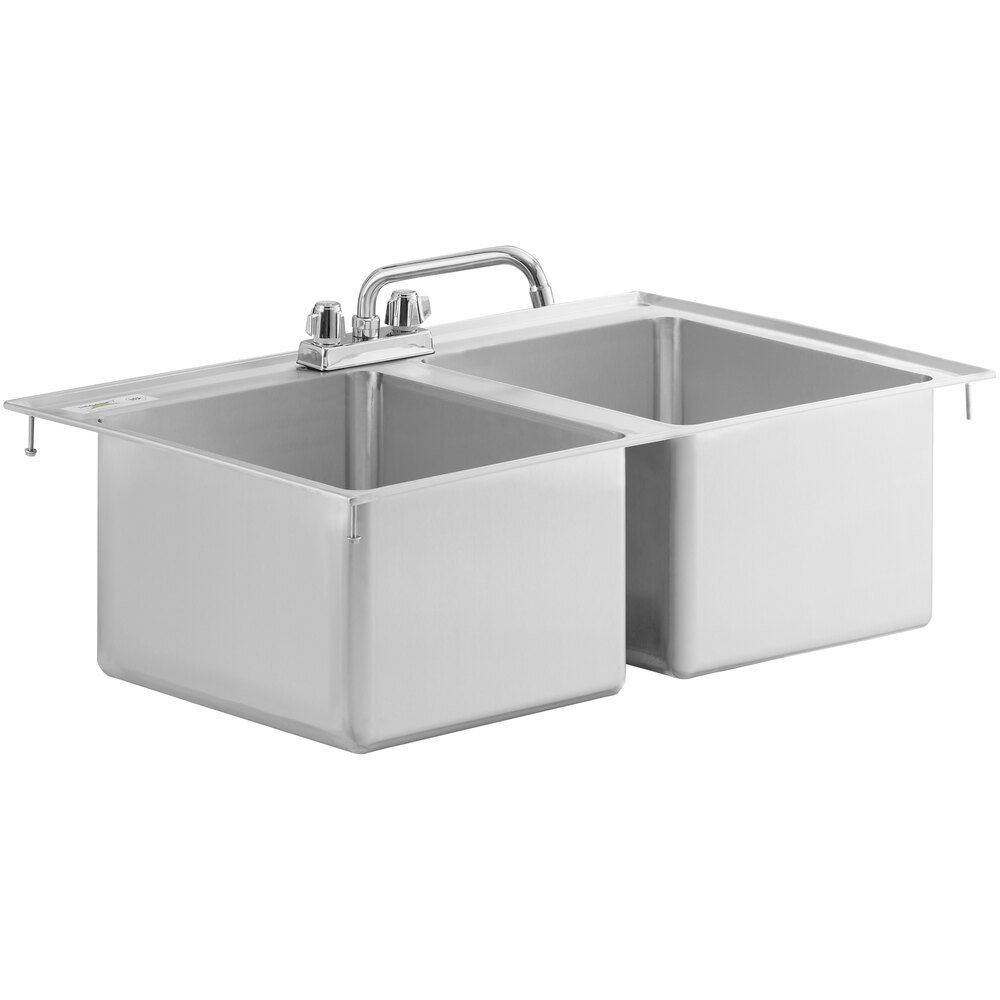 Regency 14 inch x 16 inch x 10 inch 16-Gauge Stainless Steel Two Compartment Drop-In Sink with 8 inch Faucet