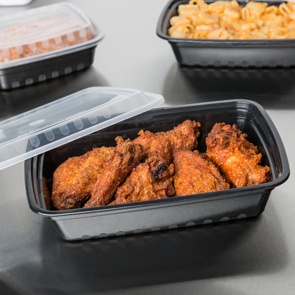 "Choice 28 oz. Black 8 3/4"" x 6 1/4"" x 1 3/4"" Rectangular Microwavable Heavyweight Container with Lid - 150/Case"