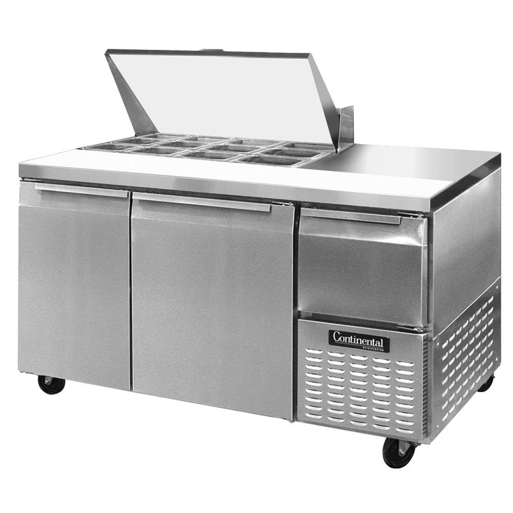 """Continental Refrigerator CRA60-12M 60"""" 2 Door 1 Half Door Mighty Top  Refrigerated Sandwich Prep Table"""