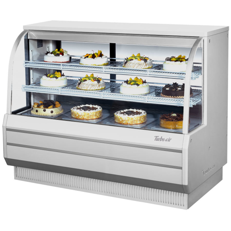 "Turbo Air TCGB-60-2 White 60 1/2"" Curved Glass Refrigerated Bakery Display Case - 18.7 Cu. Ft."