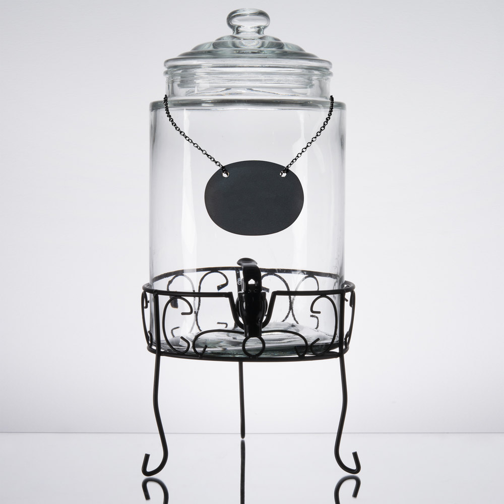 core gallon glass beverage dispenser with metal stand and chalkboard sign. Black Bedroom Furniture Sets. Home Design Ideas
