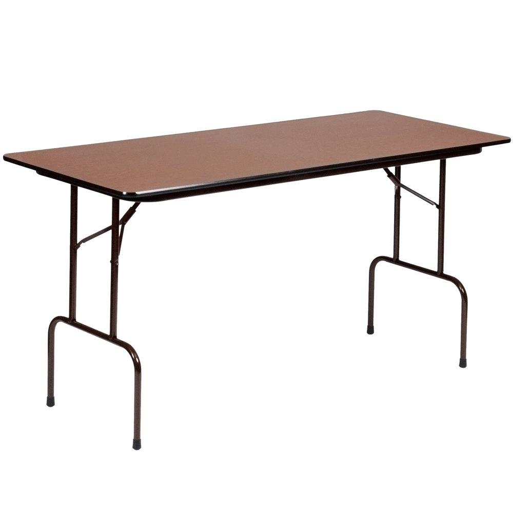 "Correll 36"" Bar Height Folding Table 30"" x 72"" Melamine Walnut"