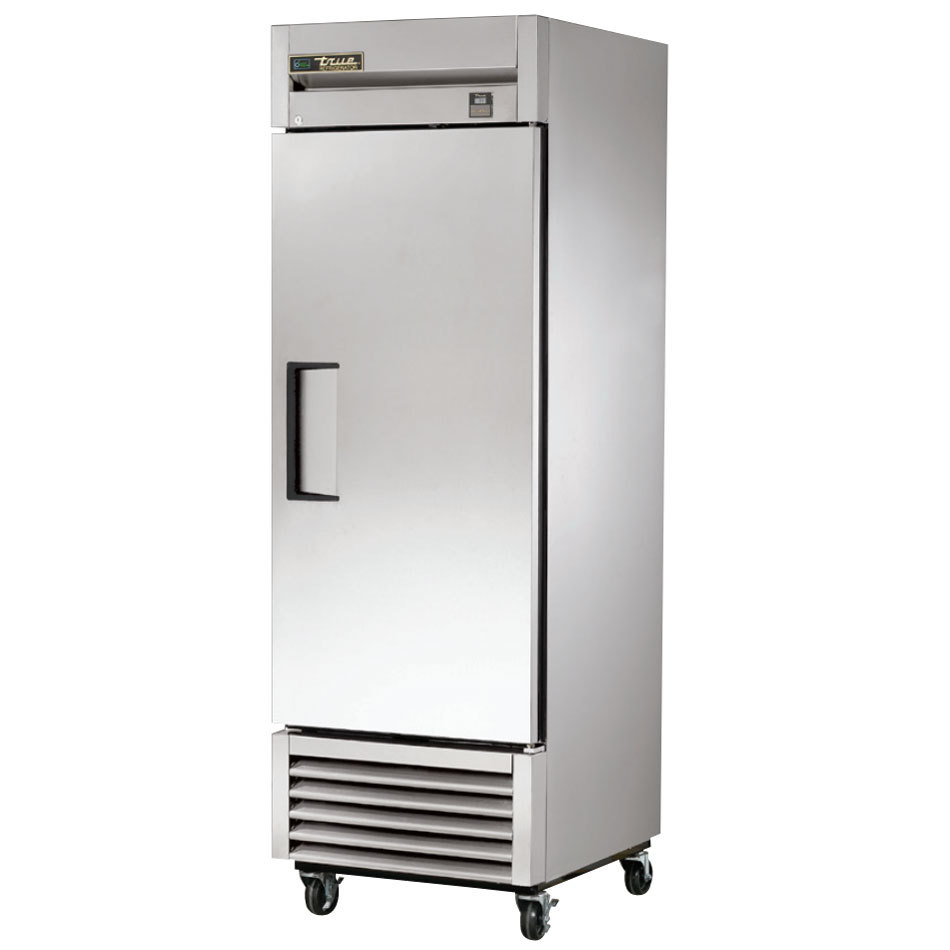 "True TS-23 27"" Stainless Steel One Section Solid Door Reach-In Refrigerator"
