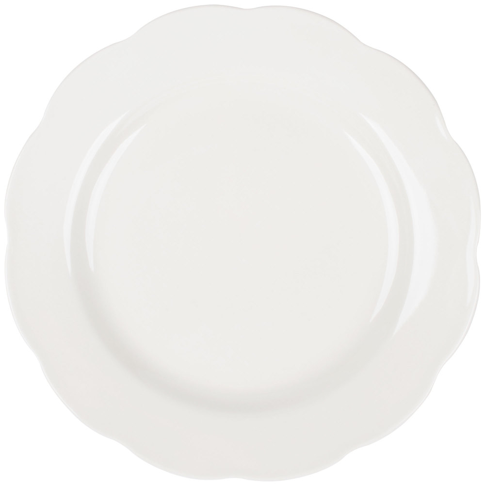 "10 3/4"" Ivory (American White) Scalloped Edge China Plate - 12/Case"
