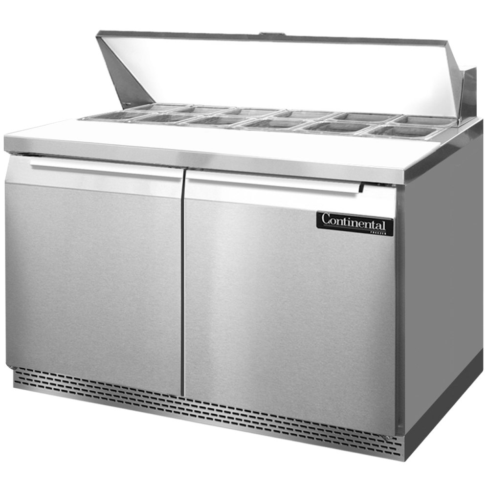 """Continental Refrigerator SW48-12-FB 48"""" 2 Door Front Breathing Refrigerated  Sandwich Prep Table"""