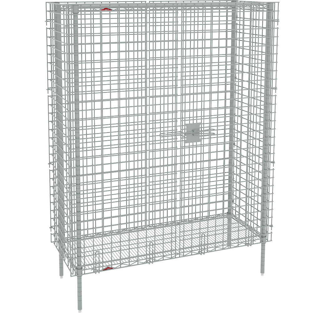"Metro SEC55S Stainless Steel Stationary Wire Security Cabinet 50 1/2"" x 27 1/4"" x 66 13/16"""