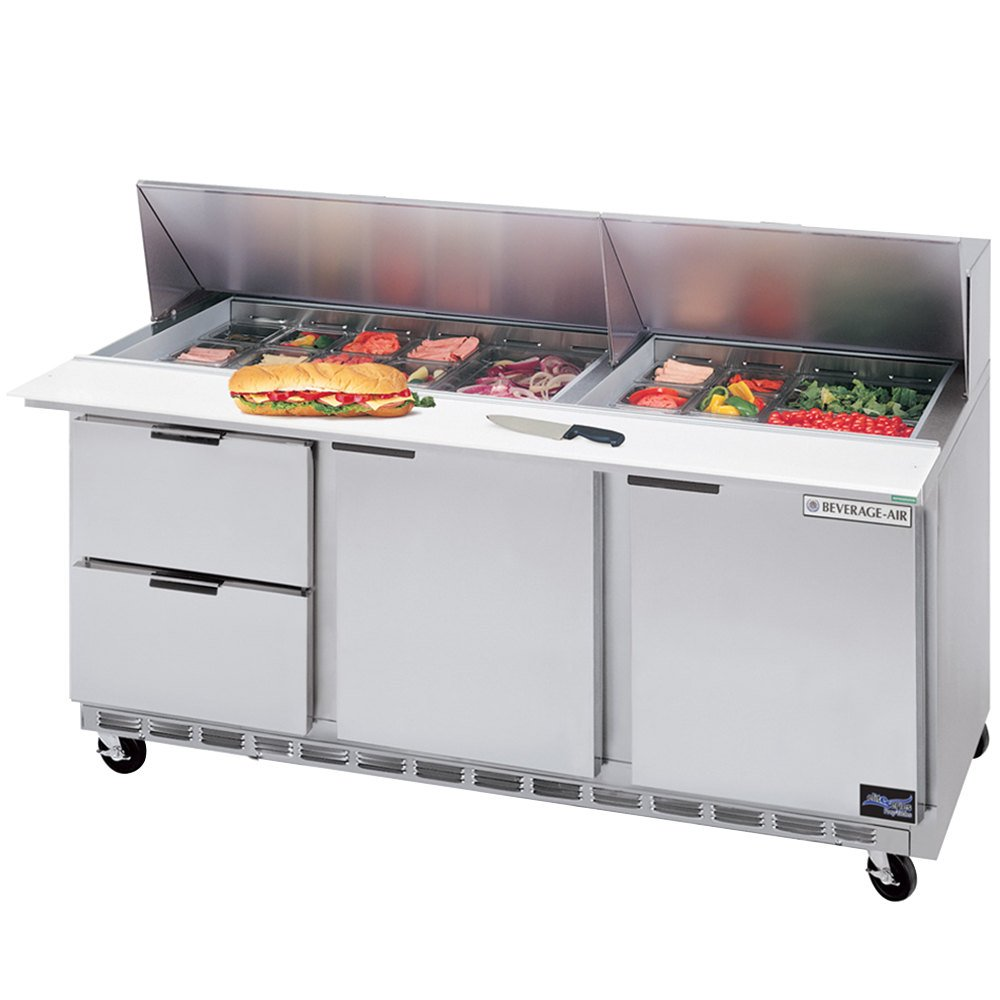 "Beverage-Air SPED72-10-2 72"" Refrigerated Salad / Sandwich Prep Table with Two Doors and Two Drawers"