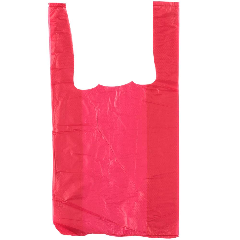 1 10 size 55 mil red unprinted embossed t shirt bag for Plastic t shirt bag