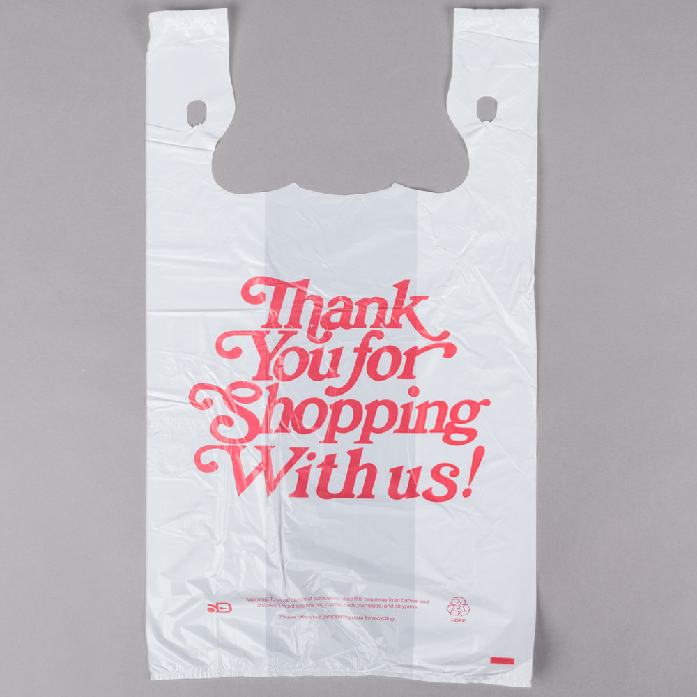 1 5 size 67 mil white thank you heavy duty plastic t for Jumbo t shirt bags