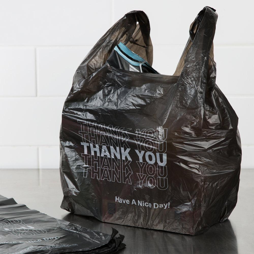 1 6 size 51 mil black thank you plastic t shirt bag 800 for Jumbo t shirt bags
