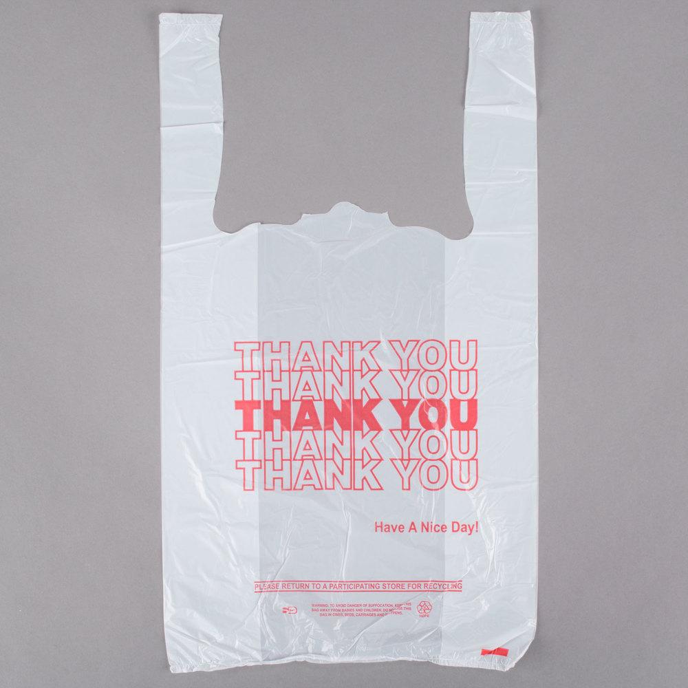 1 8 size 51 mil white thank you plastic t shirt bag for Plastic t shirt bag