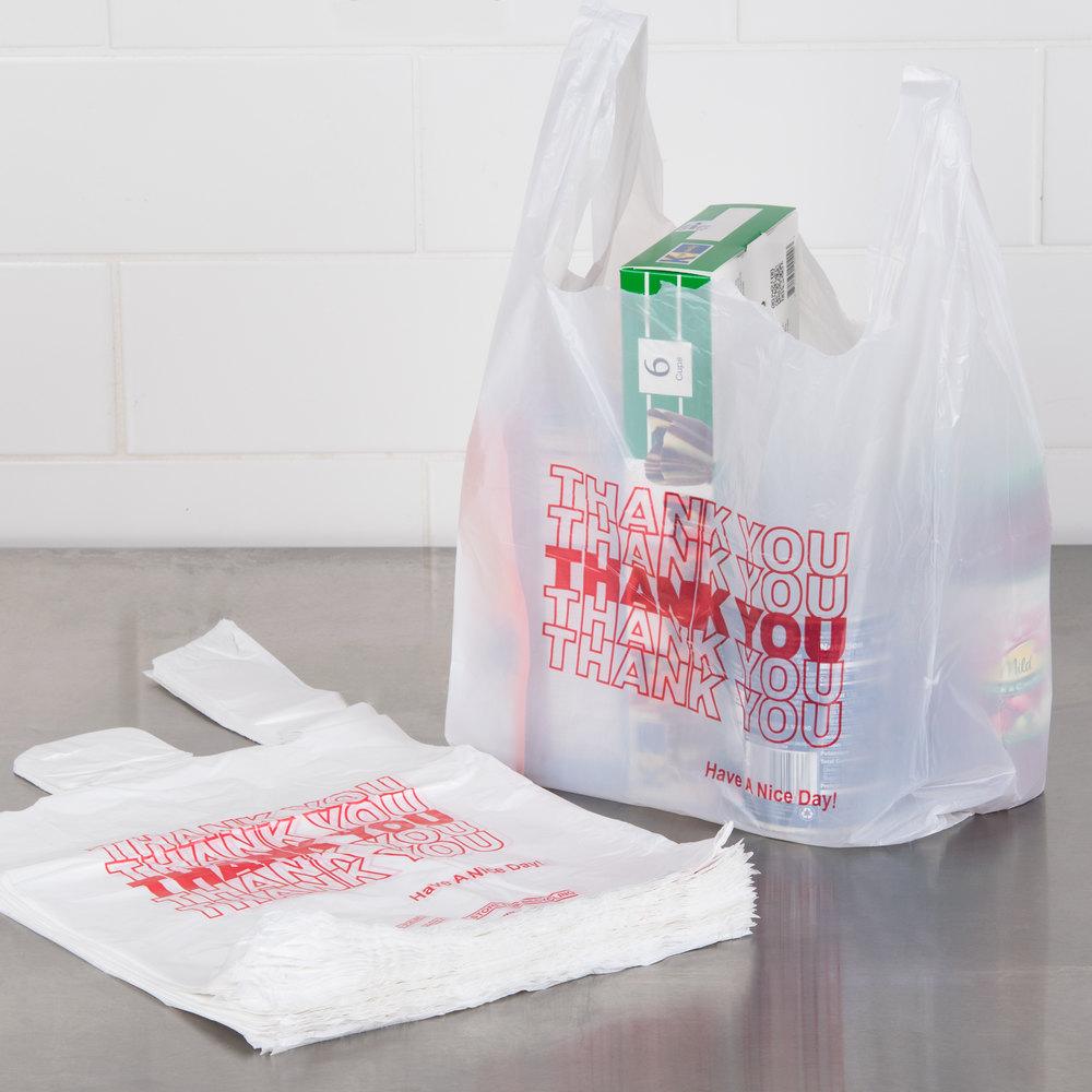 1 8 size 51 mil white thank you plastic t shirt bag for Jumbo t shirt bags