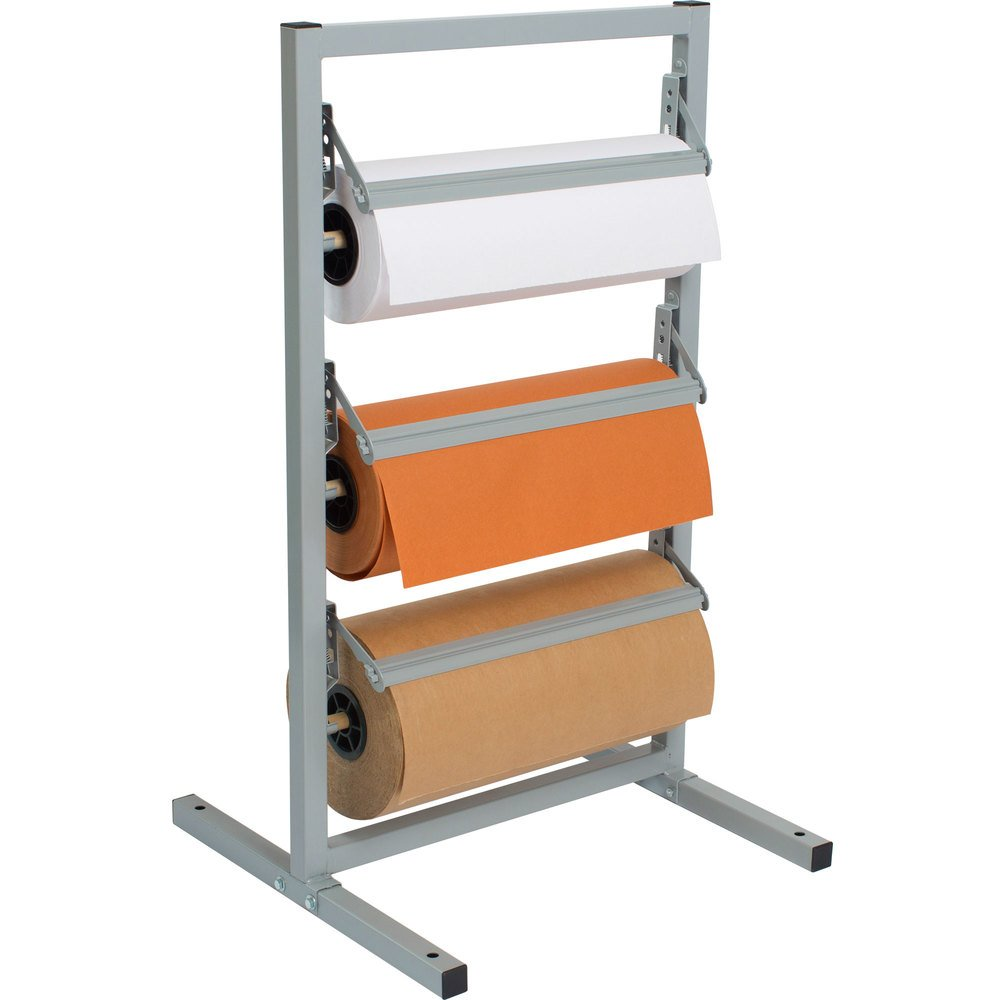 "Bulman T368R-9 9"" Three Deck Tower Paper Rack with Straight Edge Blade"