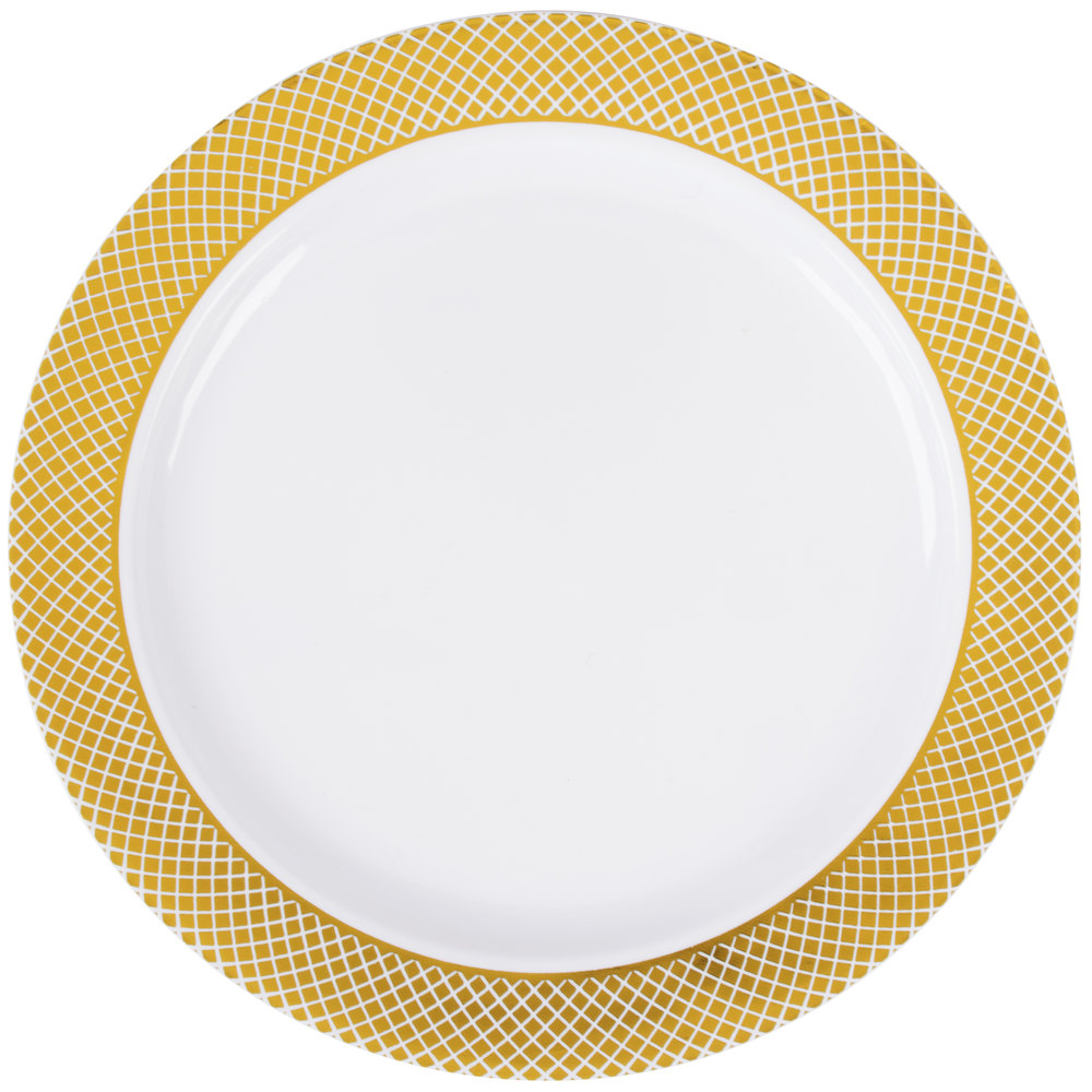"""6swhite Silvers: Silver Visions 6"""" White Plastic Plate With Gold Lattice"""