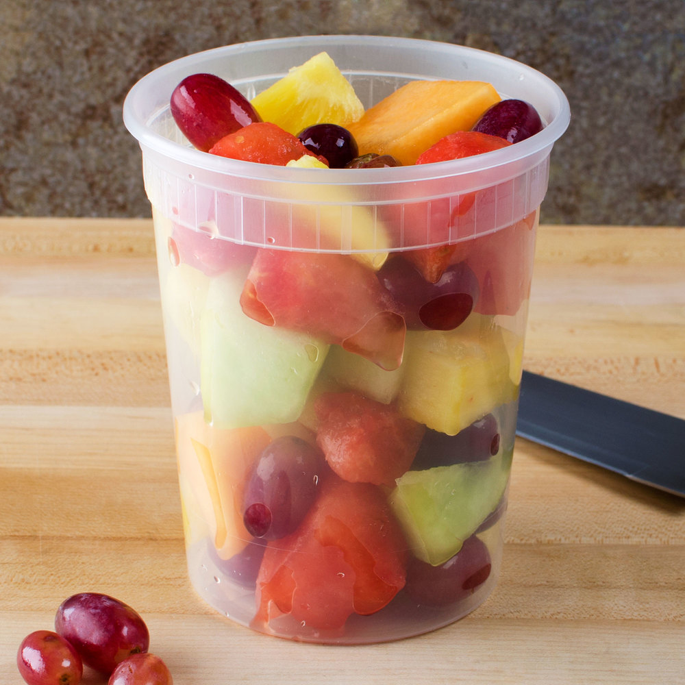 32 oz. Microwavable Translucent Plastic Deli Container - 24 / Pack