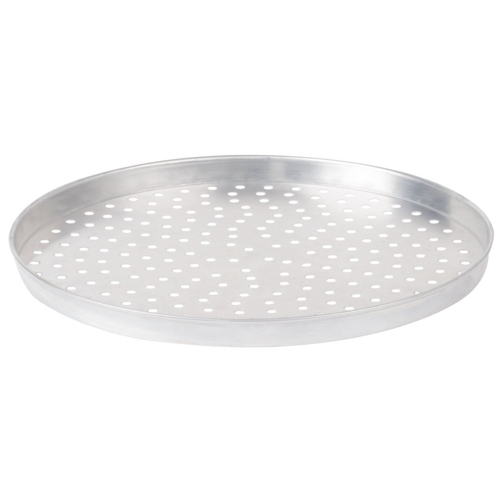 "American Metalcraft A4014P 14"" x 1"" Perforated Standard Weight Aluminum Straight Sided Pizza Pan"