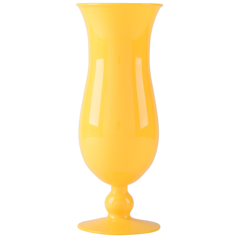 GET HUR-1-Y 15 oz. Yellow Plastic Hurricane Glass - 24/Case