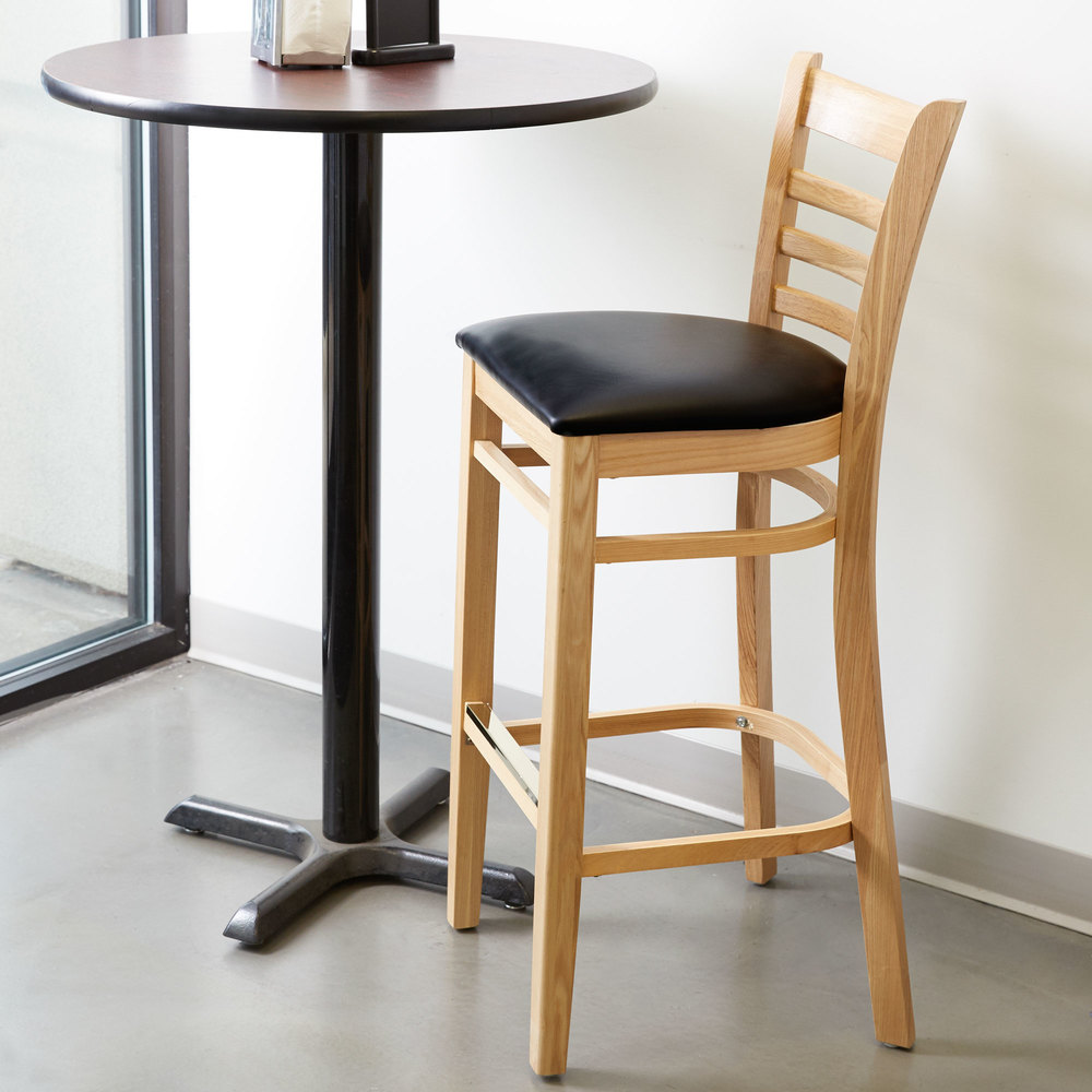 Counter Height Ladder Back Chairs : ... Seating Natural Ladder Back Bar Height Chair with Black Padded Seat