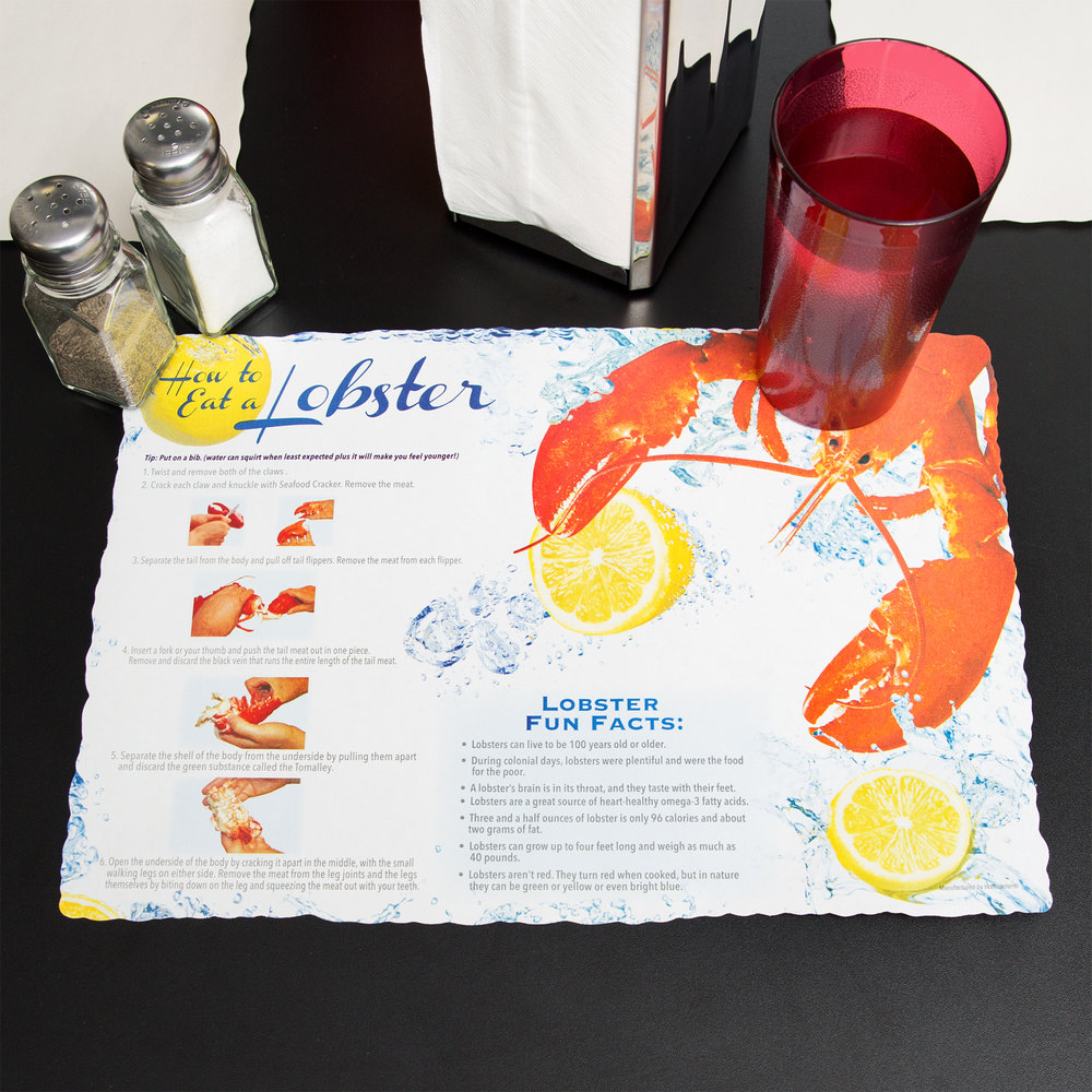 "Hoffmaster 311128 10"" x 14"" Lobster Design Paper Placemat - 1000/Case"