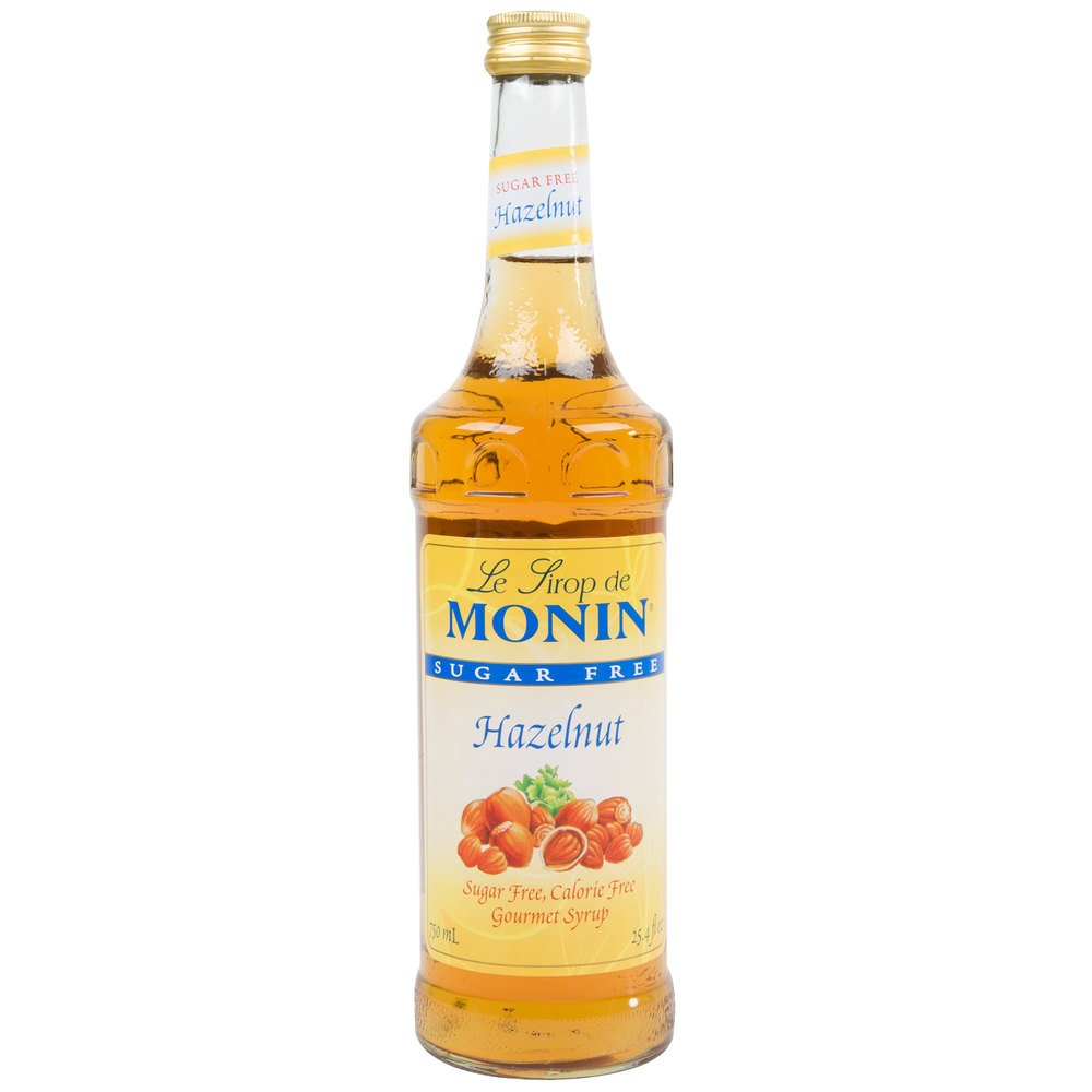 Monin 750 mL Sugar Free Hazelnut Flavoring Syrup