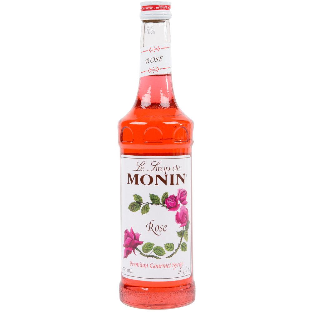 Monin 750 mL Premium Rose Flavoring Syrup