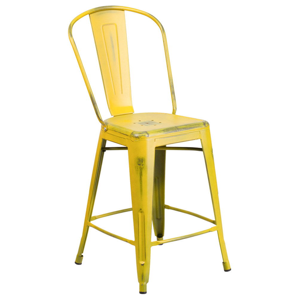 Distressed Yellow Metal Counter Height Stool with Vertical Slat Back ...
