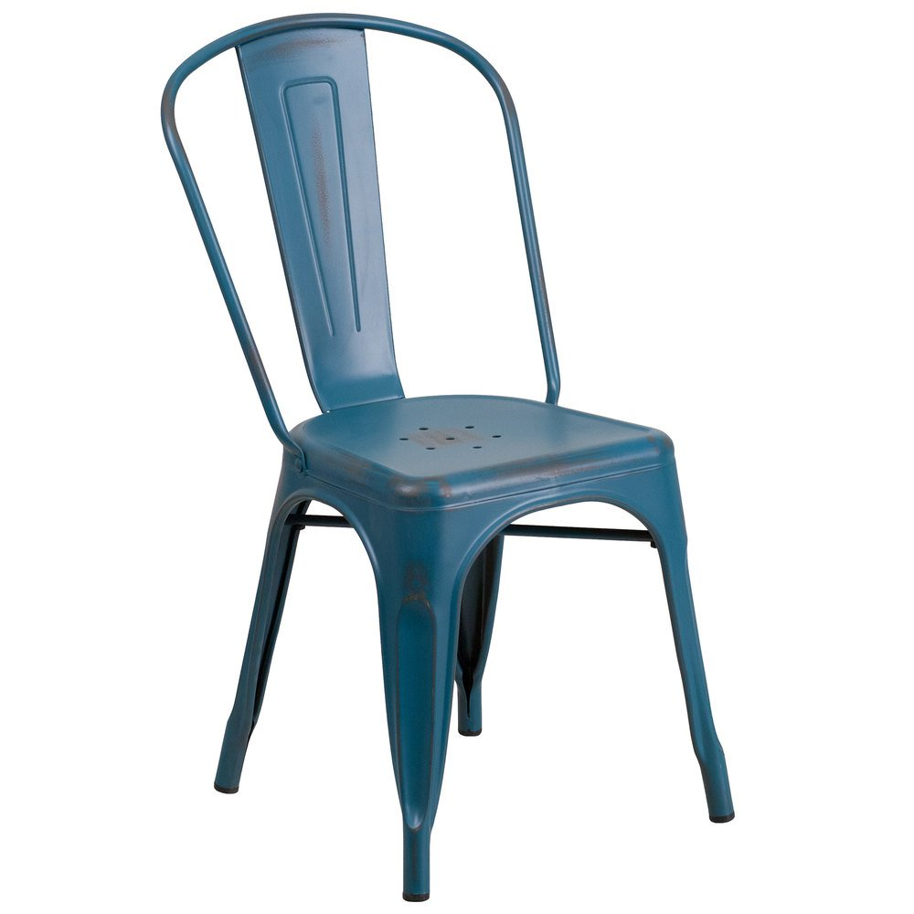 Flash furniture et 3534 kb gg distressed kelly blue stackable metal chair with vertical slat - Pizza rapid silla ...