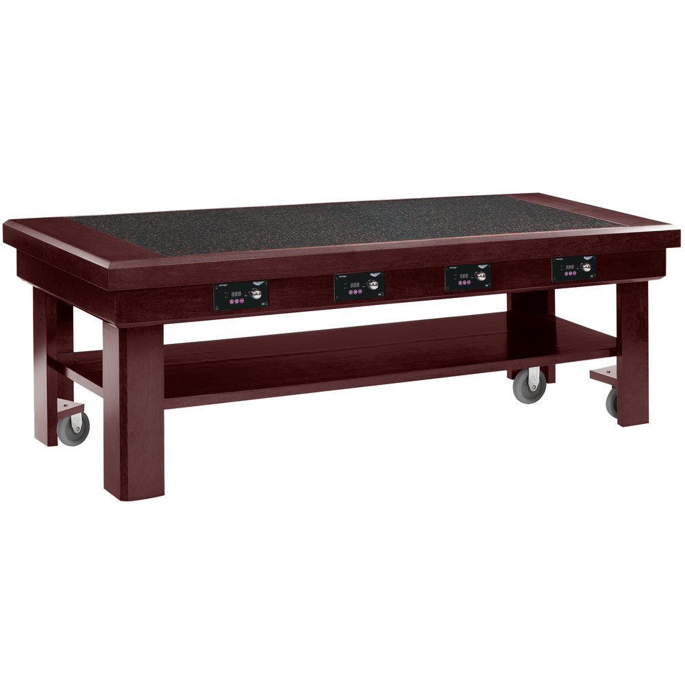 Vollrath 7552384 76 mahogany induction buffet table with for Table induction