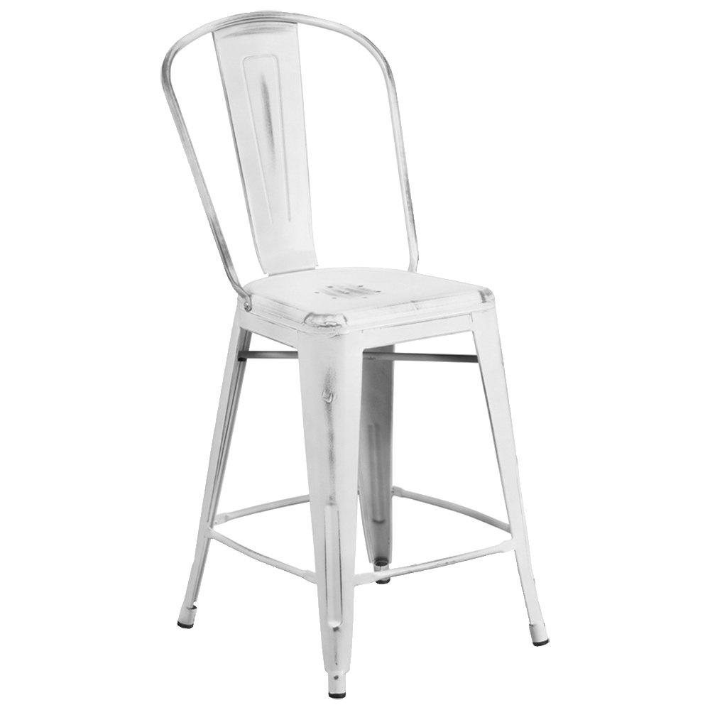 Distressed White Metal Counter Height Stool with Vertical  : 788265 from www.webstaurantstore.com size 1000 x 1000 jpeg 22kB