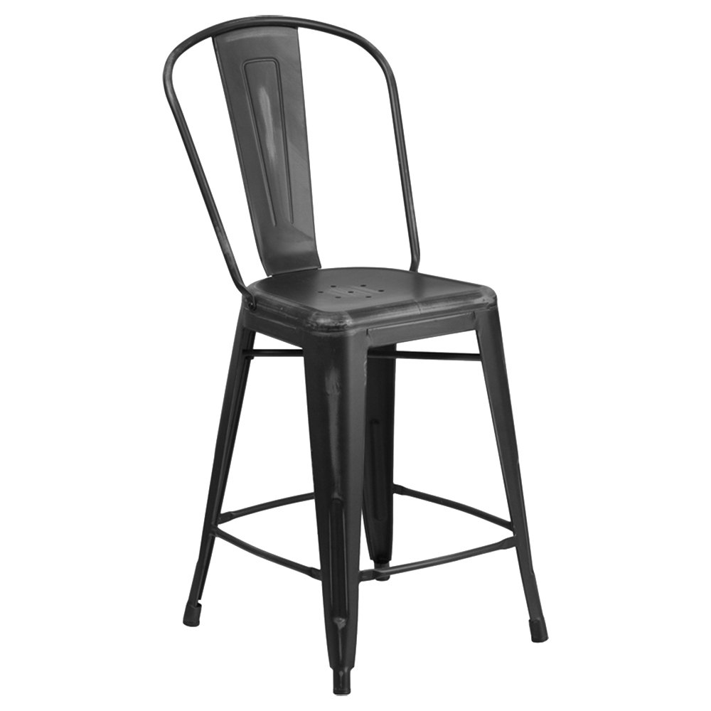 Distressed Black Metal Counter Height Stool With Vertical