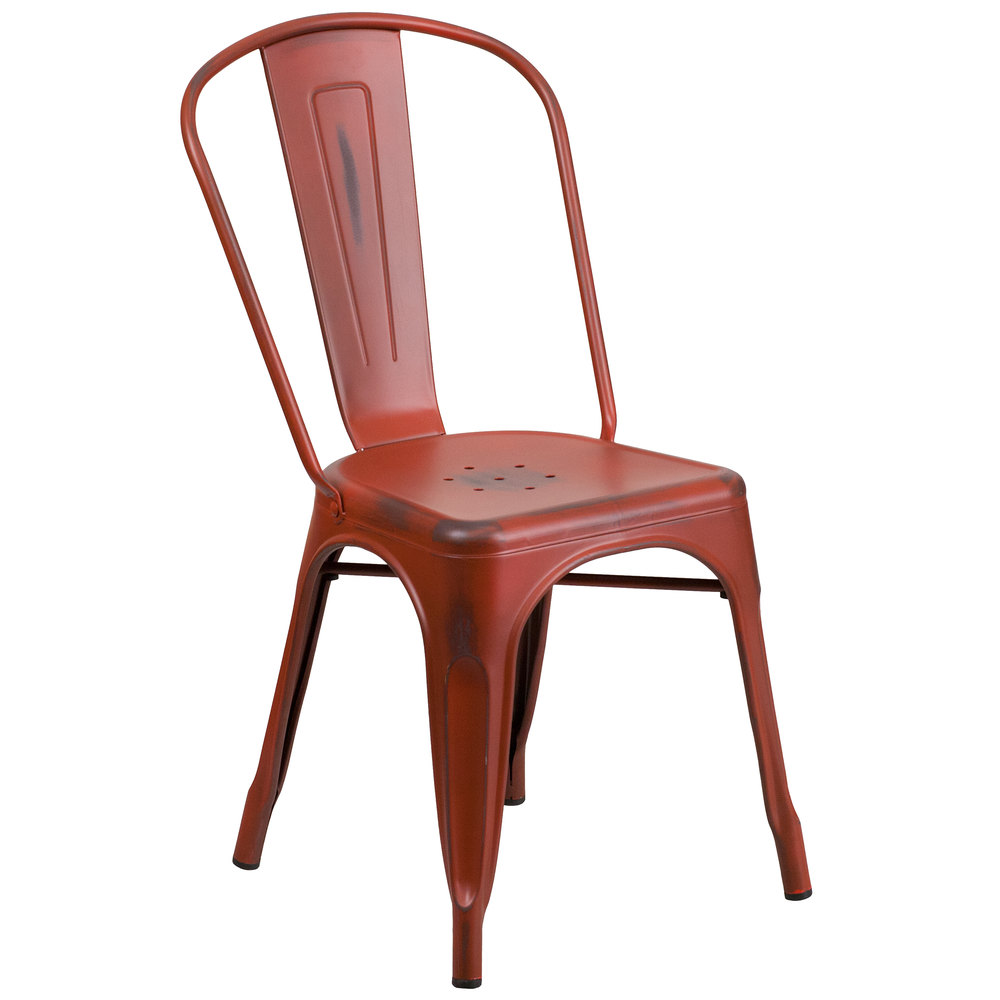 flash furniture et3534rdgg distressed kelly red stackable metal chair with