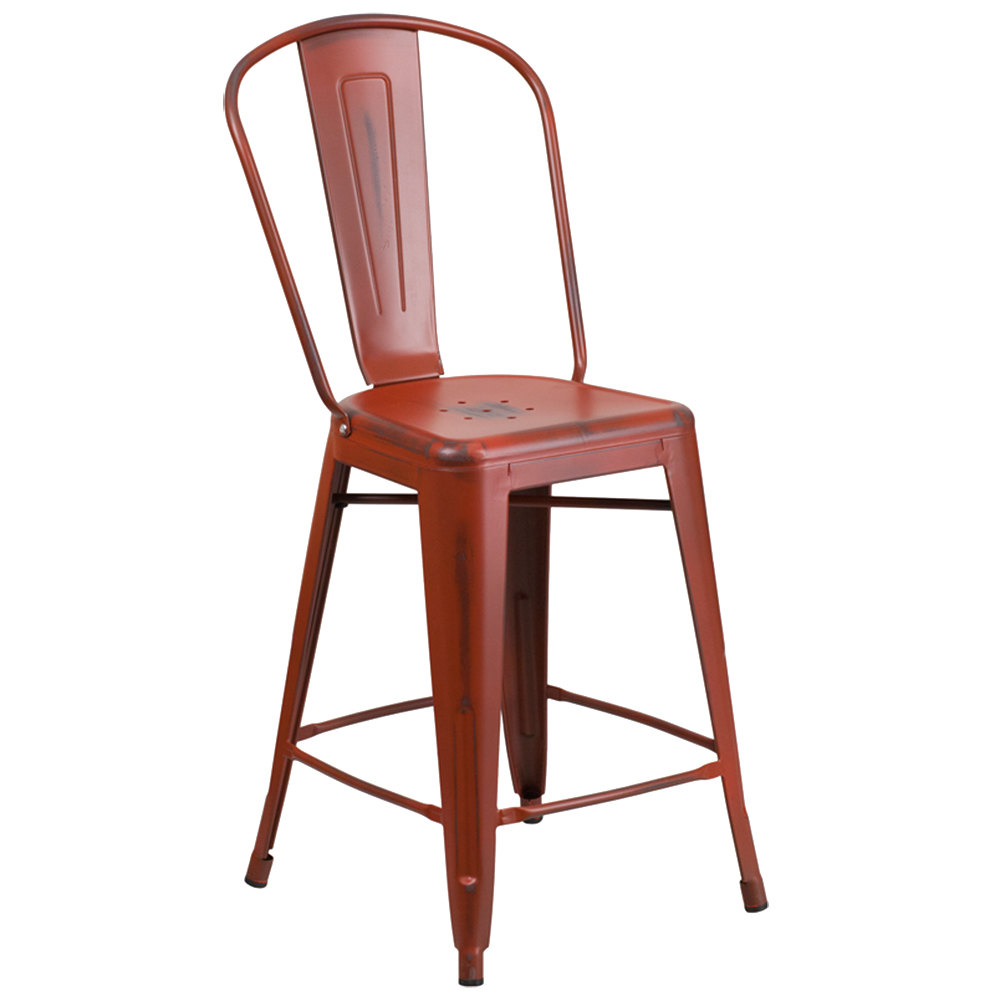 Distressed Kelly Red Metal Counter Height Stool With Vertical Slat Back And Drain Hole Seat