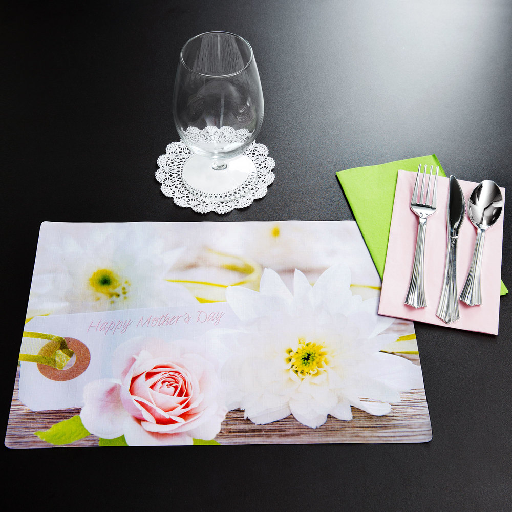 "Hoffmaster 856779 10"" x 14"" Mother's Day Placemat Combo Pack - 250/Case"