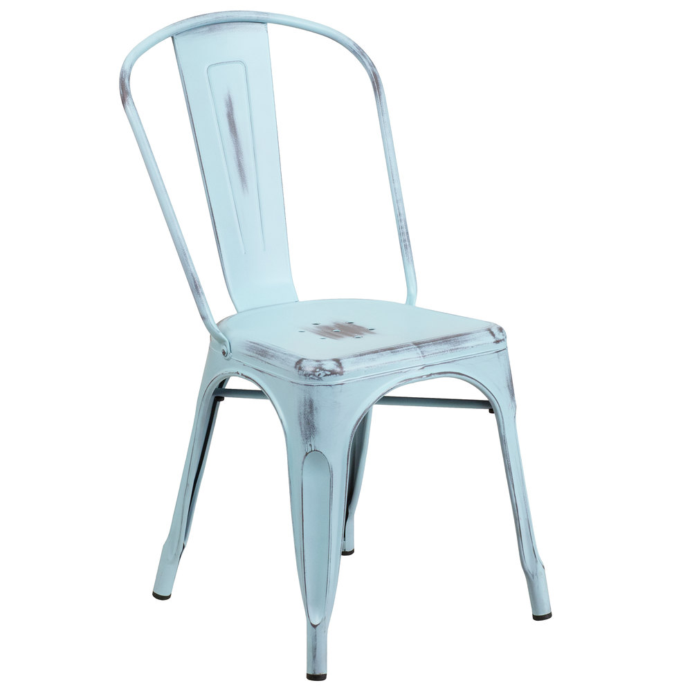 Flash Furniture Et 3534 Db Gg Distressed Dream Blue Stackable Metal Chair With Vertical Slat