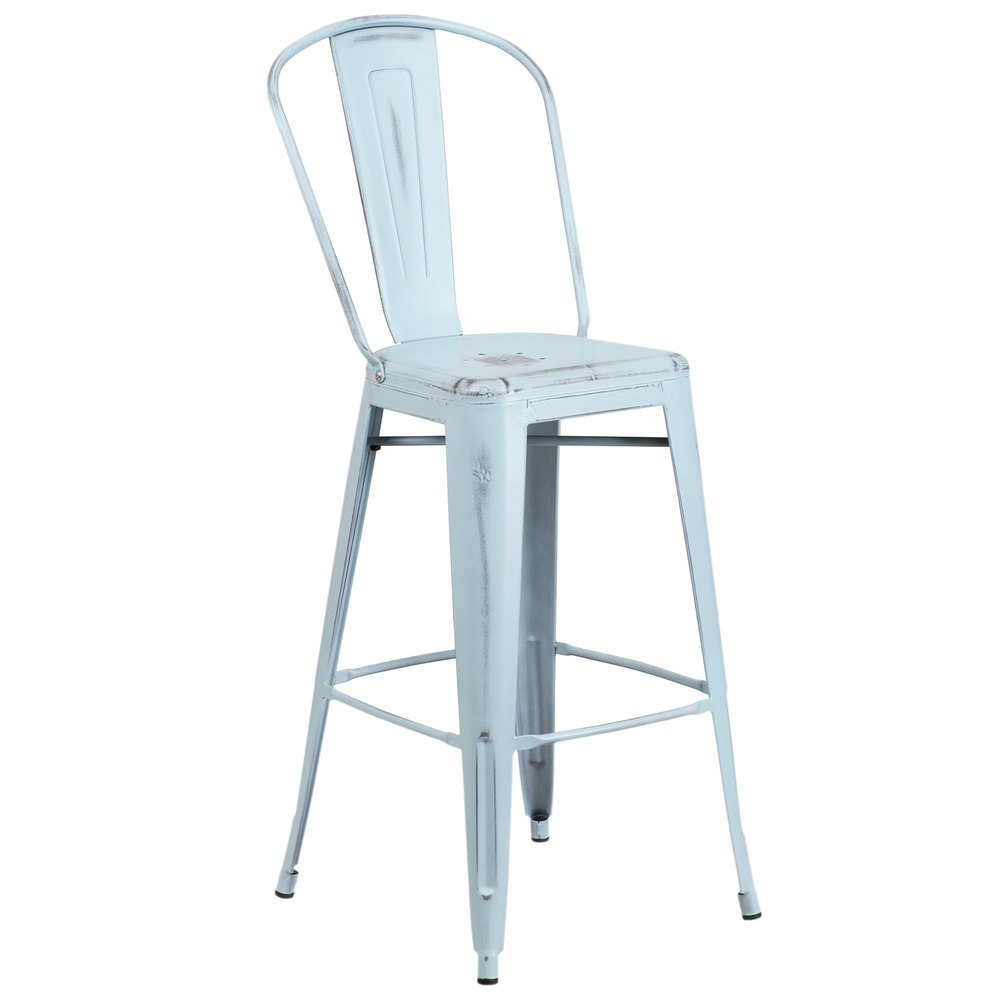 Flash Furniture ET DB GG Distressed Dream Blue Metal Bar Height Stool with Vertical Slat
