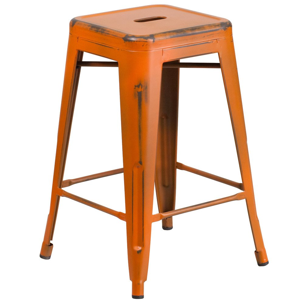 Distressed Orange Stackable Metal Counter Height Stool