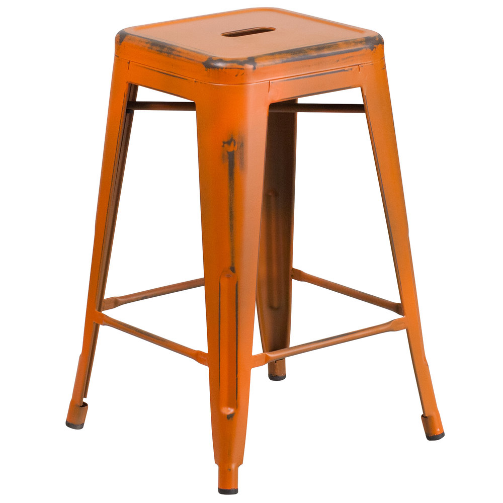 flash furniture etbtorgg distressed orange stackable  - main picture