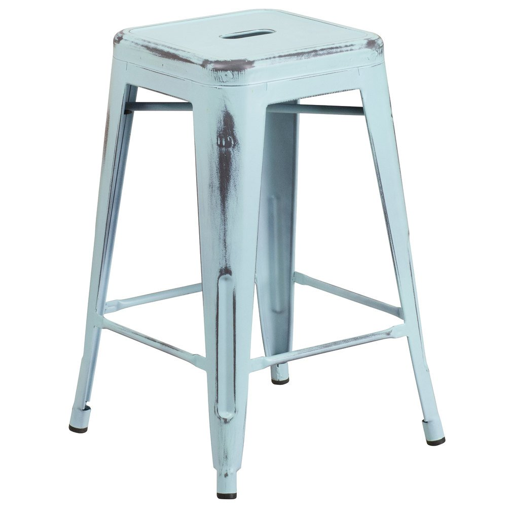 Flash furniture et bt3503 24 db gg distressed dream blue stackable metal counter height stool - Aluminum counter height stools ...