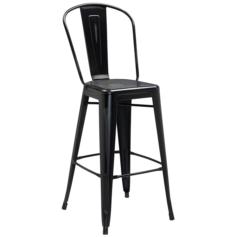 Distressed Black Metal Bar Height Stool With Vertical Slat