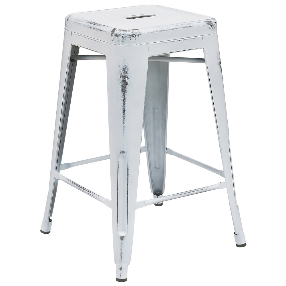 Flash Furniture Et Bt3503 24 Wh Gg Distressed White