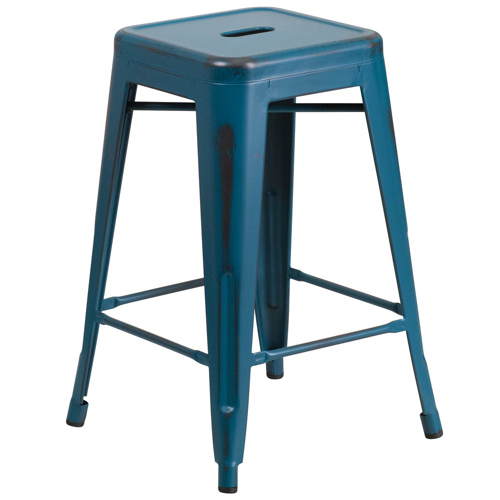 Distressed Kelly Blue Stackable Metal Counter Height Stool